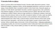 Dukla Praha - TJ Jaroslav 2014