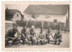 Volejbalové mužstvo 1955-Štědroň Josef,Jůza Emil,Jůza Jan,Stehlík Karel,Hospodka Josef,Škop Boh.