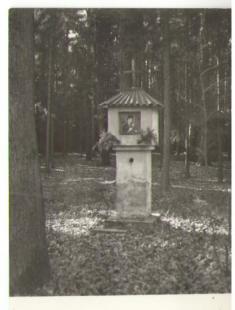 Kaplička Panny Marie, postavena vr.1906 vlese vlevo podél silnice kHornímu Jelení