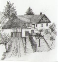 Čp. 22, vpopředí vjezd dodvora apřístřeší pronářadí, dále doškem krytá stodola